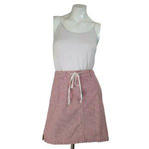 Talbots Red Seersucker Drawstring Skirt w/ Pockets